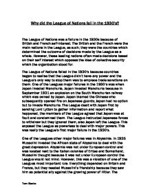 Why did the league of nations fail essay
