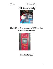 the impact of ict on the community of solihull Briefly discussed in order to show the impact of icts in agriculture, e- government and rural  to connect villages with icts and community access points 2.