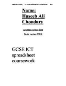 spreadsheet coursework for gcse