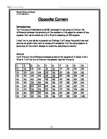 opposite corners maths coursework Opposite corners gcse maths coursework – posted in totally off-topic: anybody know how to do it its called opposite corners and i need to do it tonightsquare.