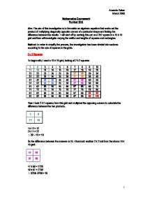 number grids maths coursework