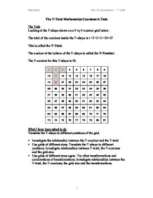 T totals coursework task sheet template
