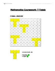 t totals coursework Investigating the relationship between t-totals and t-numbers in my maths coursework i will be focusing on t-numbers i will be investigating the relationship between.