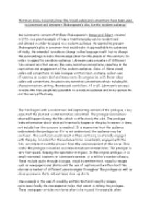 baz luhrmans modern interpretation of the shakespeare play essay To what extent is baz luhrmann's william shakespeare's romeo elements of shakespeare's play if baz luhrmann had kept essays identification and analysis.
