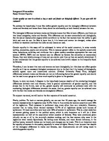 essay on gender equality gcse miscellaneous marked by teachers com page 1 zoom in
