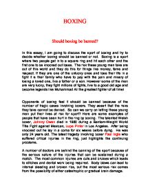 boxing essay introduction In this essay i am going to talk about boxing boxing dates back thousand of years some boxing champions became legendary the origins of boxing are unknown.