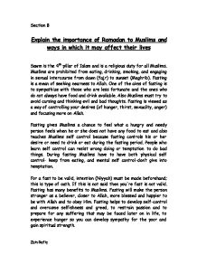 the importance of ramadan gcse religious studies philosophy  islam explain the importance of ramadan to muslims