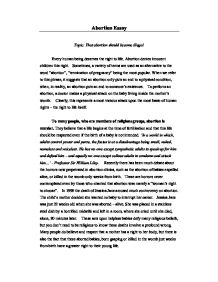 Should abortion be illegal essay