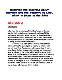 The sanctity of life - abortion and euthanasia