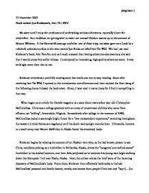 jon krakauer essay Analysis of into the wild by jon krakauer 6 pages 1411 words november 2014 saved essays save your essays here so you can locate them quickly.