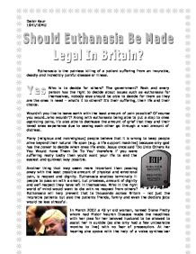 should euthenasia be legalised I believe voluntary euthanasia should be made legal for the terminally ill and for people who endure unbearable suffering voluntary euthanasia, characterized by a lucid patient expressing the want to die, provides a way of liberation from pain and a way of relief when a person's quality of life is low.