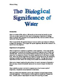 synoptic essay biological importance water