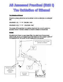 the oxidation of ethanol essay Oxygen and oxidation essay the bleach oxidized the secondary unknown alcohol into a liquid ketone which was distilled or boiled to find the boiling point and.