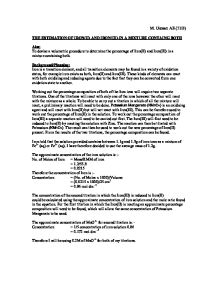 the estimation of iron essay Free essay: abstract: the purpose of this experiment was to determine the  percentage purity of the iron(ii) salt in an unknown sample.