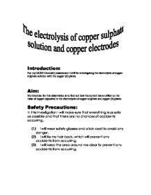 The electrolysis of copper sulphate solution and copper electrodes