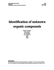 identification of an unknown compound