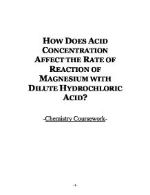 How does acid concentration affect the rate of reaction of magnesium page 1 zoom in urtaz Gallery