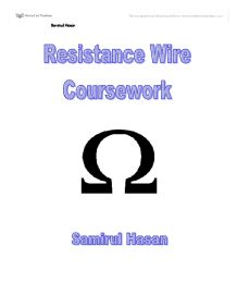 Resistance wire experiment coursework
