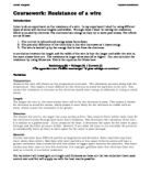 the resistance of a wire 3 essay Free college essay investigating the resistance of wire investigating the resistance of a wire planning for this investigation there are a.