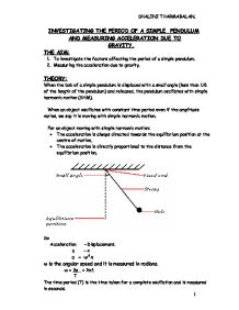 a lab report on determining the factors affecting the period of a pendulum Swinging on a string length and angle of swing affect the period of a pendulum ask the students to explain which factors might affect the period of a pendulum.
