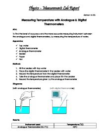 Physics Lab Report Measurements Thermometers