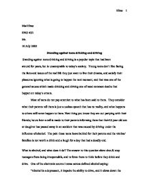 Essay on teenage drinking