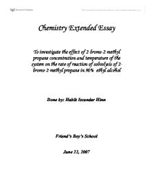 determining the effect of carbon chain length of an alcohol on its  chemistry extended essay investigate the effect of 2 bromo 2 methyl propane concentration and temperature of