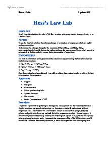 Hesss Law Lab, use Hesss law to find the enthalpy change of