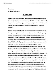 Wwi  Total War Essay  International Baccalaureate History  Marked  Ww Total War Best Business School Essays also Cheap Prices For Writing  Examples Of A Thesis Statement For A Narrative Essay