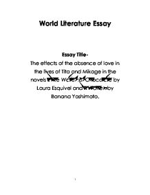 English world lit essay the effects of the absence of for Kitchen banana yoshimoto analysis