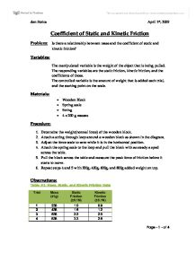 coefficient of friction lab report Kinetic friction lab no description by rachel wu on 10 february 2014 tweet comments (0) please log kinetic coefficient example lab report similar to ours.
