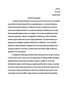 Critical Thinking Essay - International Baccalaureate World ...