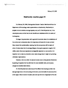 biodiversity reaction paper university biological sciences page 1 zoom in