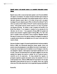 Episodic and semantic memory essay
