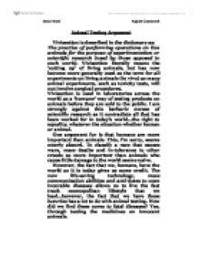 scientific testing on animals essay
