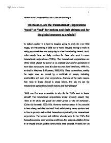 Essay on transnational corporations