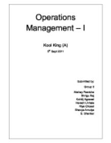 Operations Management universities studies