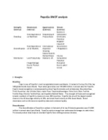 pepsico swot analysis The last section of the brand analysis includes a swot analysis  increase  awareness of the current soda lines, pepsi max and pepsi next,.