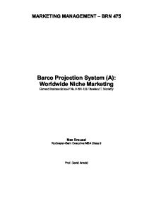 barco projection system essay Barco projection system summary: this case describes the situations where companies work together by satisfying customer.