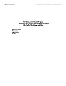 Essay by edgar allan poe39s murders in the rue morgue