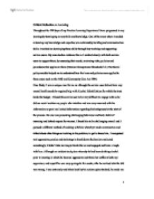 critical reflection university social studies marked by  page 1 zoom in