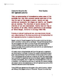 anti oppressive practice in social work essay Social work identify and analyse evidence based identify and analyse evidence based practice social to ensure that our practice was anti-oppressive and.